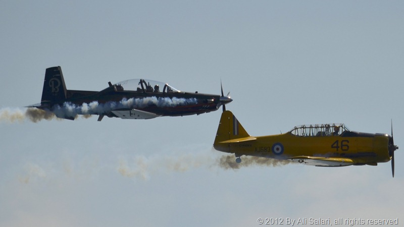 2 Harvard aircraft of different revisions, flying in formation